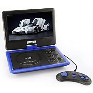 Portable Swivel Bravolink DVD Player with TV USB Card Reader Radio Games MP3 CD-R CD-RW WMA CD DHCD (7.5 inch (758), blue)