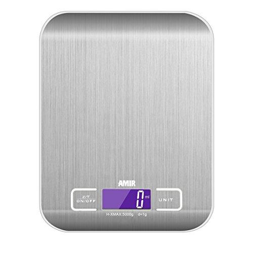 Balances de cuisine, 5000g/1g, Amir® Balance numérique cuisine, de haute précision tactile sensible, Écran LCD rétroéclairé (Acier Inoxydable)