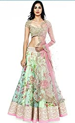 RAMAPIR COLLECTION WHITE PINK BHAGALPURI LEHENGA CHOLI
