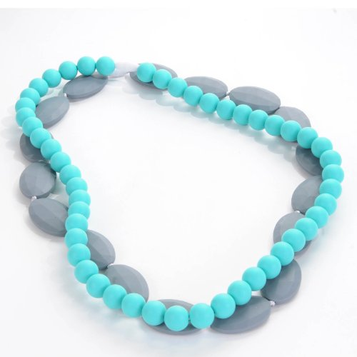 Sassy Baby Beads Mommy And Baby Chew Teething Beads Necklace Set Turquoise & Gray front-913572