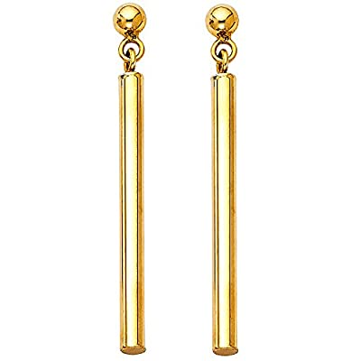 Wellingsale® Ladies 14k Yellow Gold Polished Fancy Dangle Hanging Drop Earrings (2 x 40mm)