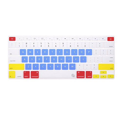 """Case Star Candy Series Rainbow Light Blue Keyboard Silicone Cover Skin For Newest 13"""" 15"""" Retina Macbook Pro Aluminum Unibody (Black Keys, Without Dvd Rom, 13.3 .15.4-Inch Diagonal Screen With Case Star Velvet Bag"""