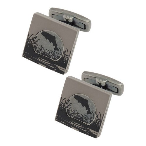 Titanium Plated Salmon Print Cufflinks