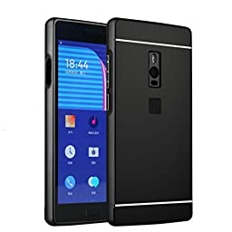 ABC For OnePlus Two 2 luxury Aluminum Metal Frame Bumper + PC Mirror Back Case Cover (Black)