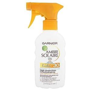 Garnier Ambre Solaire Kids Suntan Trigger Spray SPF30 Colour Control High Protection Coloured Spray 200ml with Cactus Nutriflavones & Vitamin E