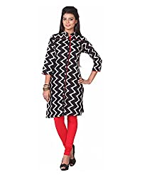 Namah Women's Cotton Regular Fit Kurti (D60-L, Black, L)
