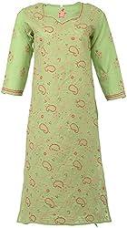 ALMAS Lucknow Chikan Women's Cotton Regular Fit Kurti (Green and Peach)