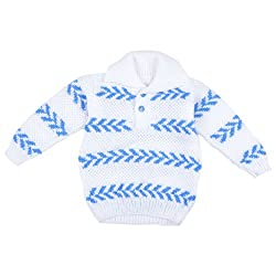 Kuchipoo Unisex Hand Knitted Sweater (1 to 2 Years Blue & White Sweater)