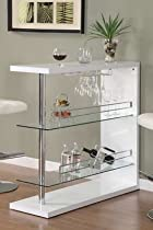 Big Sale Coaster Bar Table with Two Glass Shelves in Gloss White Finish