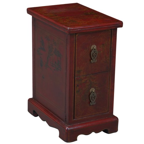 Cheap EXP Handmade Oriental Furniture – 19″ Antique Style Red Leather End Table – Oriental Heirloom (B0027WLQOS)