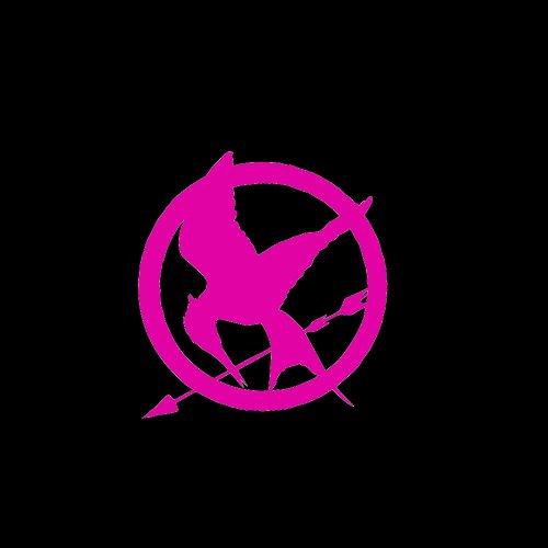 Hunger Games Mockingjay Symbol Car Window Decal Sticker Raspberry Pink 4