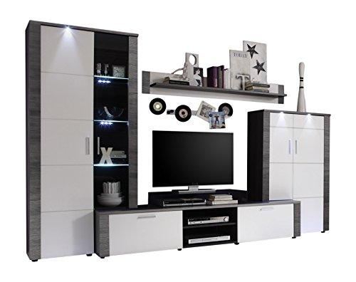 trendteam xp98710 wohnwand anbauwand wohnzimmerschrank xpress esche grau nachbildung und fronten. Black Bedroom Furniture Sets. Home Design Ideas