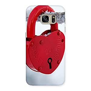 Ajay Enterprises Fill Red Lock Back Case Cover for Galaxy S7