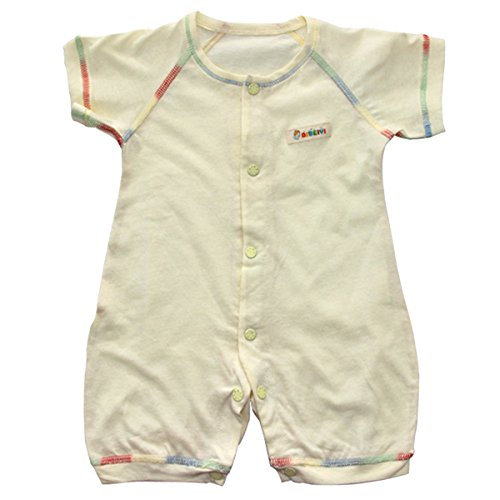 Newborn Unisex-Baby Cotton 1-piece Snap-Up Summer Romper Sleepwear Pajamas for 3-6 Months Yellow