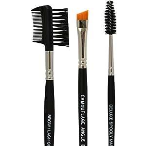 Shimarz Eyebrow Brushes Set Vegan Makeup Professional Kit Includes Spoolie, Angled Definer Brush & Brow/Lash Comb 100% Synthetic, Hypoallergenic, Safe For Sensitive Skin & No Shedding