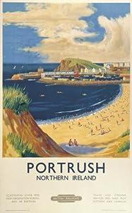Irish Travel Art Poster Portrush Beach, Northern Ireland by British Railways