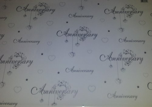 1 x White Hearts - Silver Anniversary Gift Wrapping Paper [RE]
