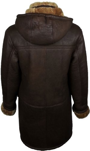 UNICORN Womens Hooded Sheepskin Duffle Coat Brown With Ginger Fur Real Leather Jacket #CD (12)