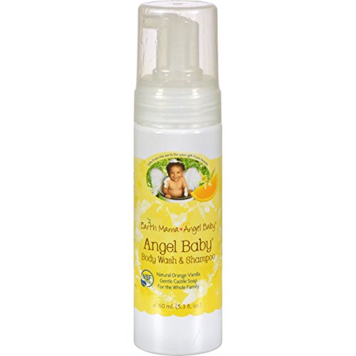Earth Mama-Angel Baby Body Wash & Shampoo Pure Castile Vanilla Orange Soap for Every Body 5.3 fl. oz