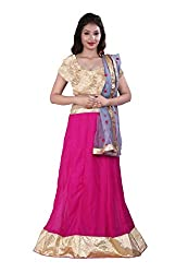 Fabdeal Embroidered Georgette Party Wear Lehenga Choli ( AAFC7LC1032HNS_Magenta & Gold)