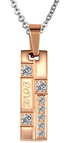 "Women's Pendant Stainless Steel CZ Cut Rose Golden Square ""Love"" Engraved with Random Chain by Aienid"