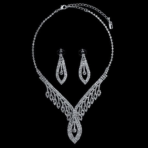 Silver Tone Rhinestone Crystal Bridal Necklace Earrings 2 pcs Set