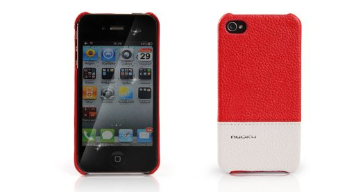 Nuoku Royal Luxury Leather Case For Iphone 4/4S (Red/White)