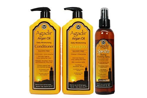 "Agadir Argan Oil Moisturizing Shampoo&Conditioner 33.8Oz & Spritz Finishing Spray 8Oz ""Set"" (W/ Hair Treatment Sample & Roll-On Body Oil)"