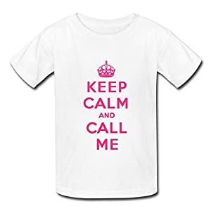 Short Sleeve Crew Neck Ring Spun Cotton Keep Calm Call Me Boys' T Shirt - Five Sizes