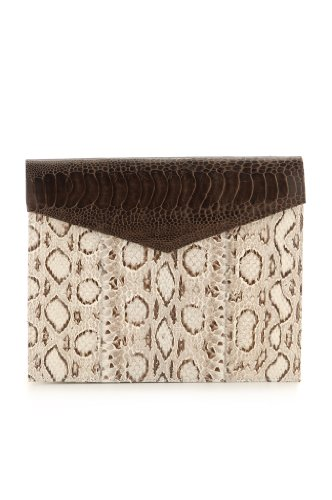 Adriana Castro-Nina Clutch Natural/Brown Vipersnake/Ostrich Leg