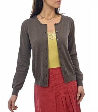 Wool Overs Women's Silk & Cotton Crew Neck Cardigan Brown Marl Small