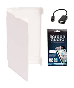 KolorEdge Flip Cover + Screen Protector + Otg For Nokia Asha 501 - White
