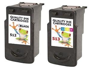 Refilled 2 X Canon Printer Ink Cartridges Cl-513 + Pg-512 Combo Pixma Mp Mx Ip Printers