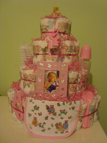 Baby Girl Jumbo 4 Layer Diaper Cake - Comes Decoratively Wrapped Making it a Great Gift or Shower Centerpiece - Other Gift Options Also Available