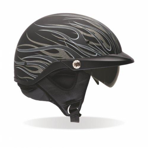 Bell Mens Pit Boss Open Face Motorcycle Helmet Flames Matte Titanium Large L