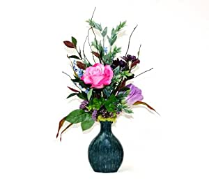 Home decorating ideas silk flower arrangement for Decorate with flowers amazon