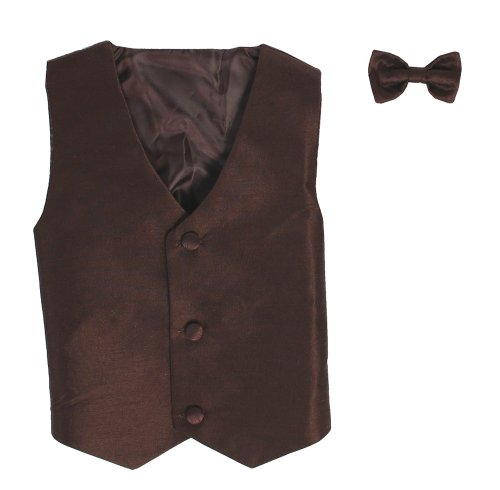 Vest and Clip On Baby Boy Bowtie set - BROWN - 2T/3T Brown Dress Bowties