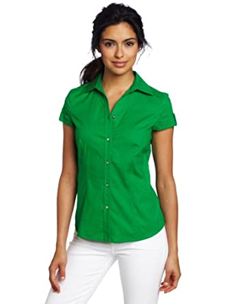 AK Anne Klein Women's Poplin Short Sleeve Shirt, Kelly Green, 2