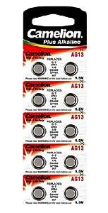 Camelion AG13/LR44/LR1154/357 Pack de 10 Piles jetables pour Appareil photo