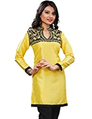 Silk Indian Kurti Tunics Top Long Womens Embroidered India Clothing