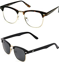 Redix Traditional Combo Tiger Frame Transparent And Brown Clubmaster Sunglasses For unisex