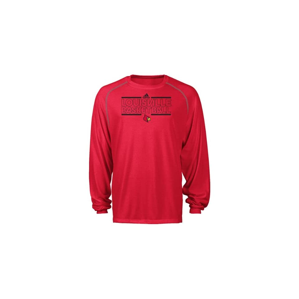 Louisville Cardinals Red Bleed Out On Court Practice Climalite Long Sleeve T Shirt