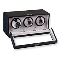 Black Faux Leather 3-Turntable Watch Winder