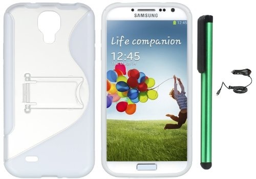 #1  Samsung Galaxy S4 i9500 Combination - S-Shape TPU Cover Case with Kick-Stand Case / Car Charger / 1 of New Assorted Color Metal Stylus Touch Screen Pen (White / Clear)