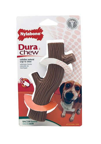 Nylabone Dura Chew Wolf Bacon Flavored Hollow Stick Bone Dog Chew Toy