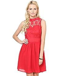 Besiva Sleeeveless Lace Insert red dress
