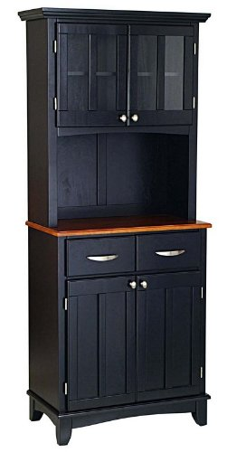 Cheap Buffet Hutch with Cottage Oak Wood Top in Black Finish (VF_HY-5001-0046-42)