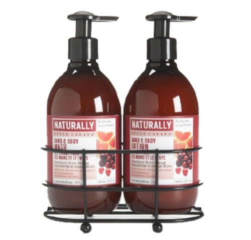 Upper Canada Soap And Candle Naturally Caddy Set,  Cranberry Moro Orange, 2, 12-Ounce Bottle