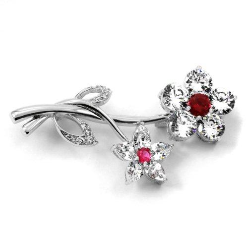 Wedding Jewelry: Roma's CZ Flower Brooch - Ruby