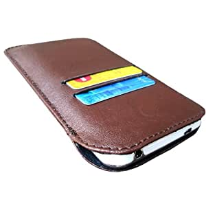 i-KitPit Genuine Leather Pouch Case For Lava Iris 430 (Brown)